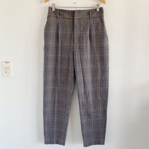 2/25 🍉 zara high waisted grey plaid trousers